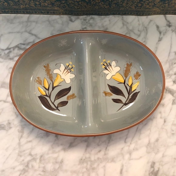 Vintage Pink Gold Ceramic Shell Divided Dish Tray Made in USA Mid-century